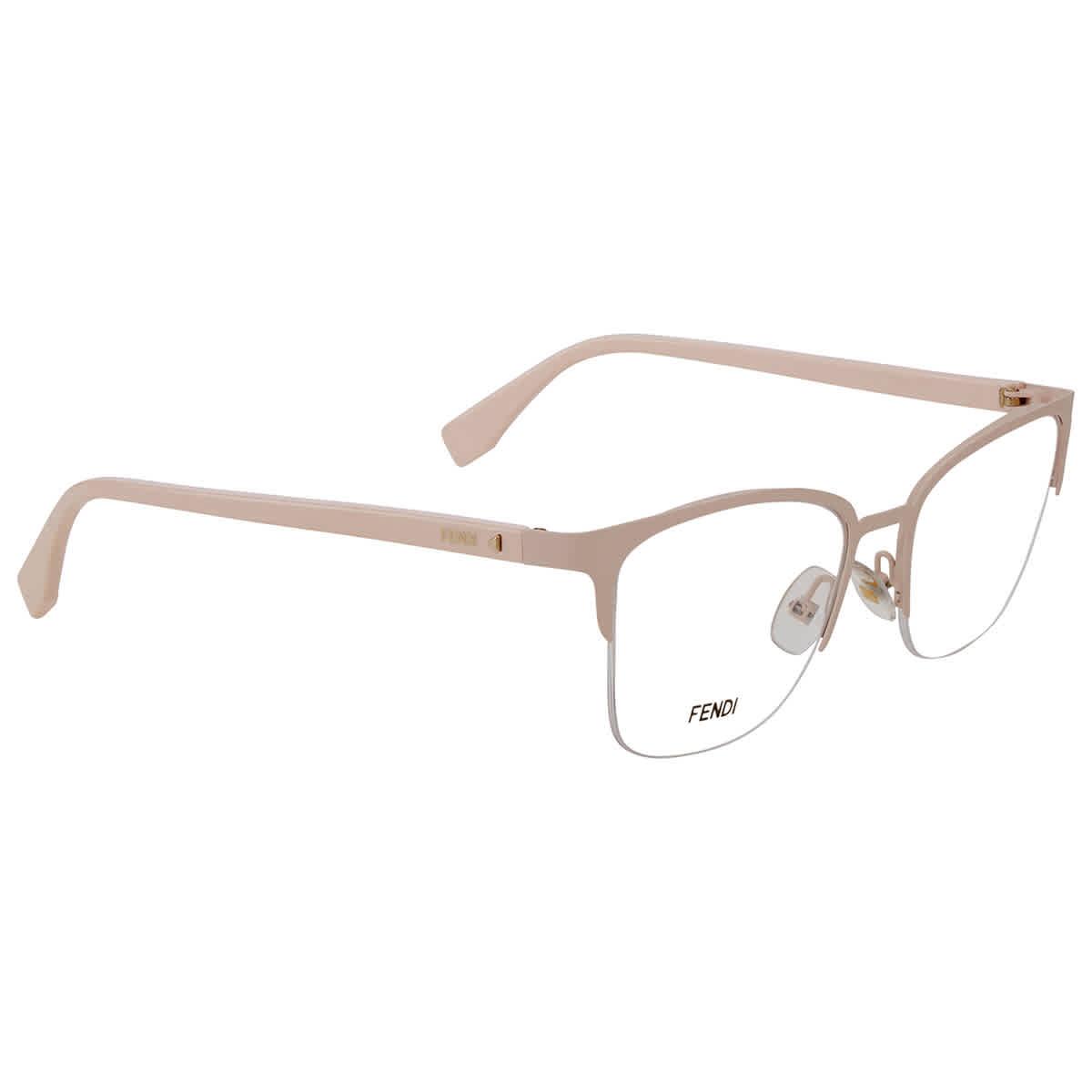 Fendi Demo Rectangular Ladies Eyeglasses Ff 0321 08kj 00 52/18 In Pink