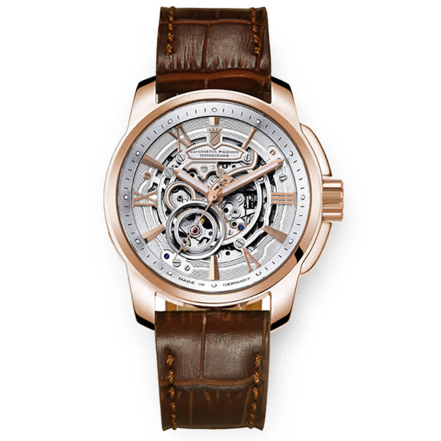 Waldhoff Republic Rose Gold Heritage Silver-tone Dial Mens Watch 04d In Brown,gold Tone,pink,rose Gold Tone,silver Tone