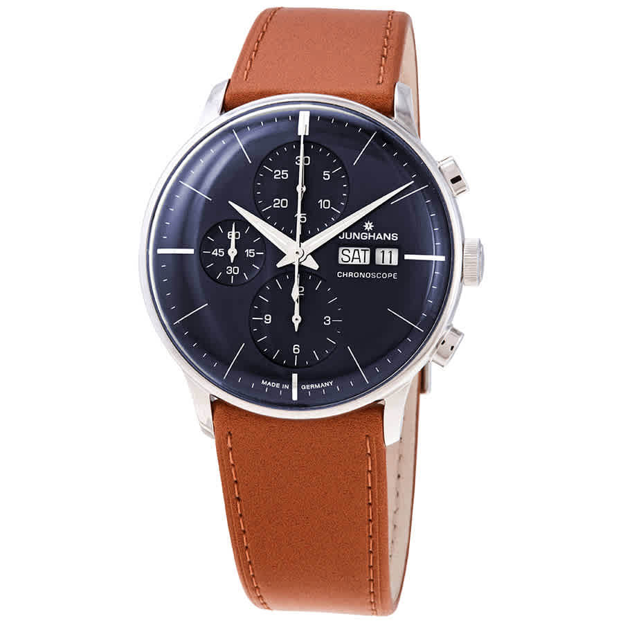 Junghans Meister Chronoscope Automatic Blue Dial Mens Watch 027/4526.01 In Blue,brown,silver Tone