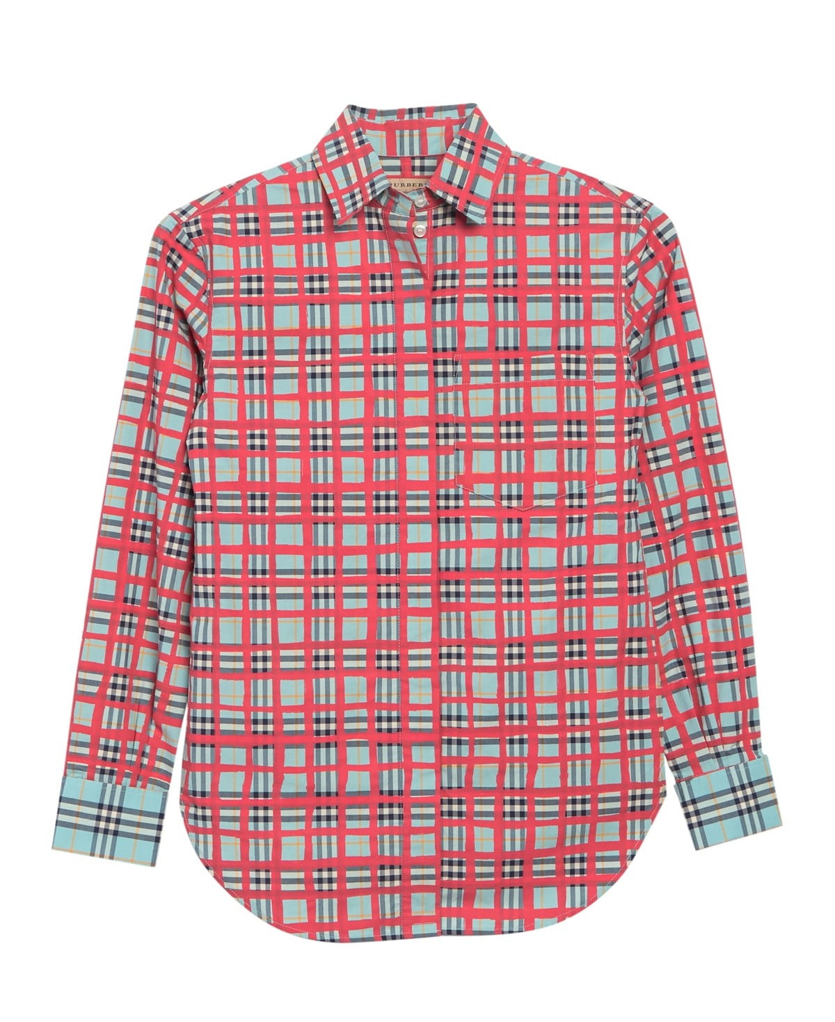 Burberry Saoirse Plaid Long Sleeve Shirt In Blue