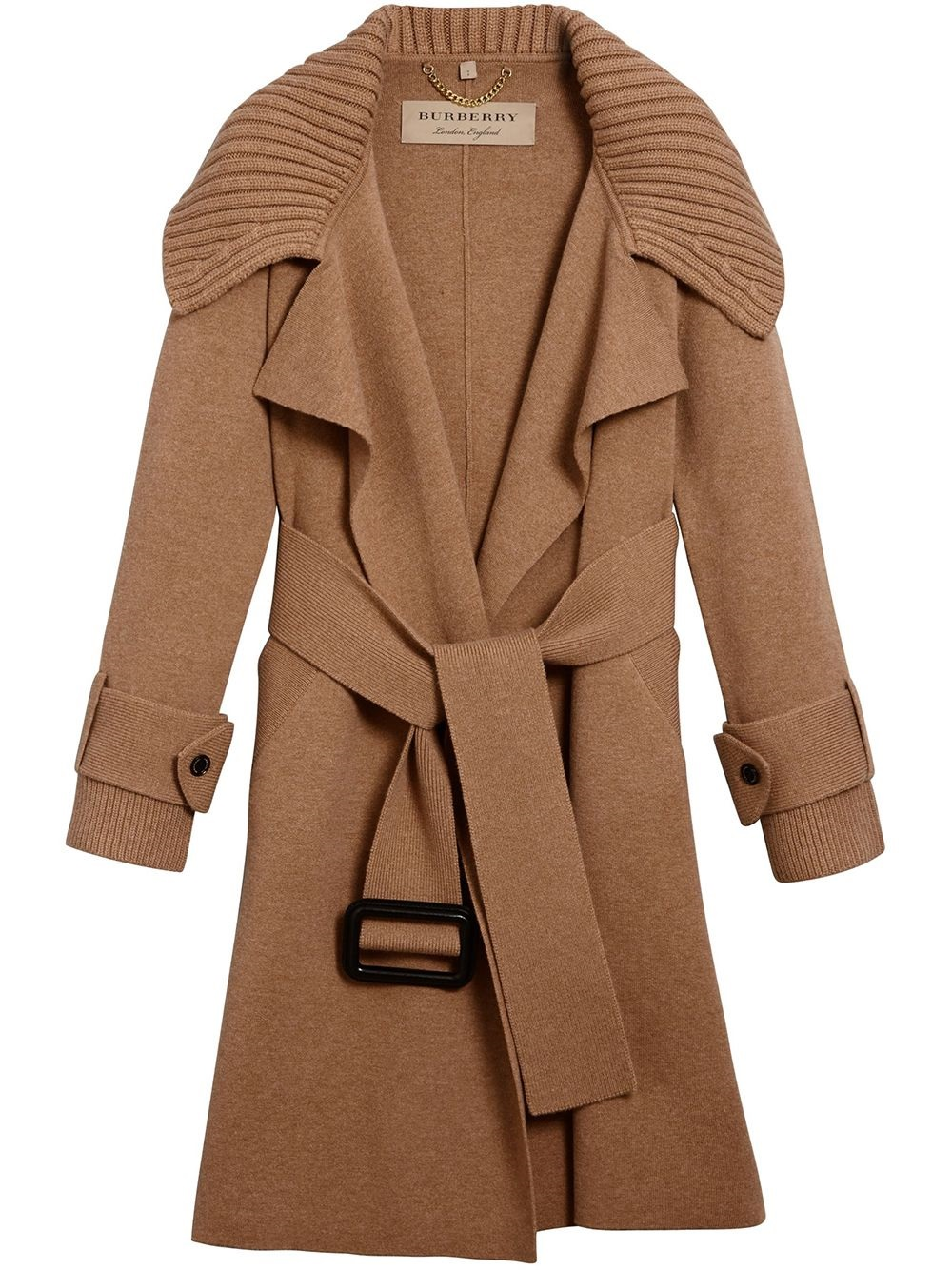 Burberry Piota Wool Blend Knit Trench Coat In Camel In Yellow