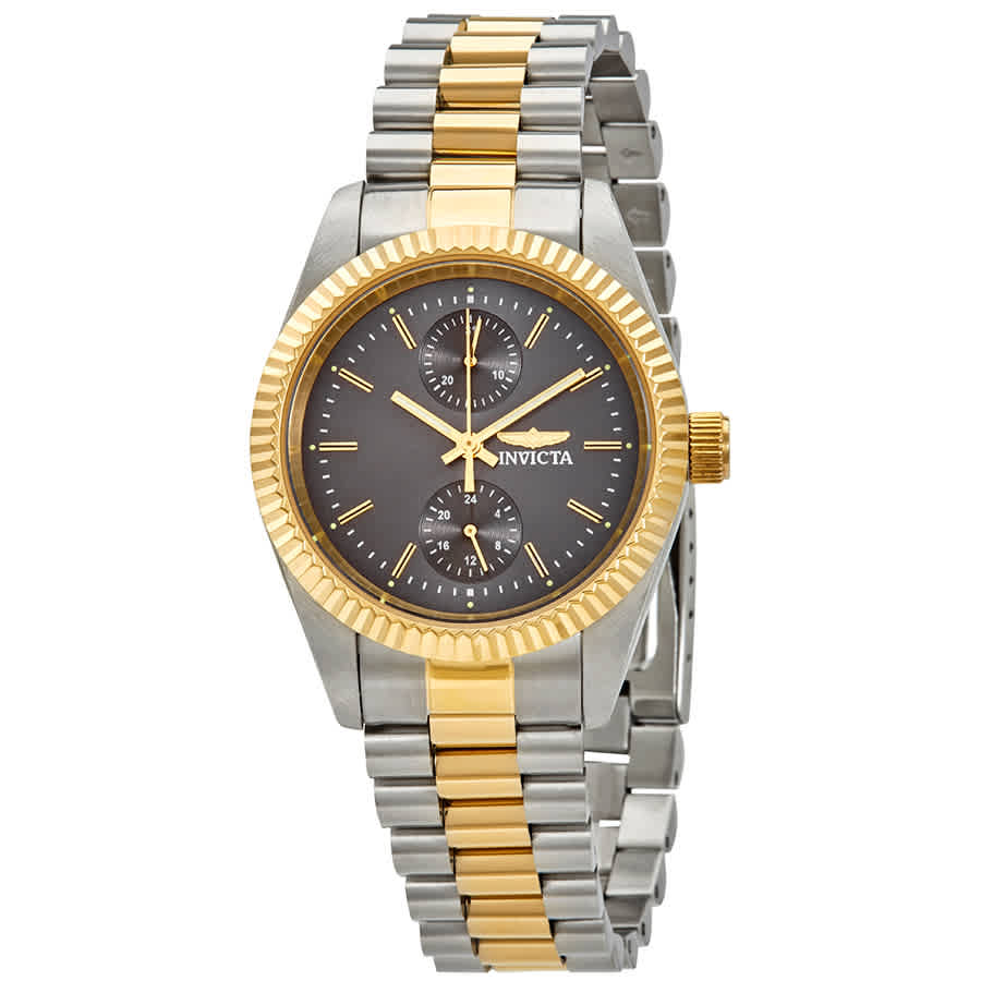 Invicta Specialty Charcoal Dial Two-tone Ladies Watch 29439 In Gold Tone,grey,silver Tone,two Tone,yellow