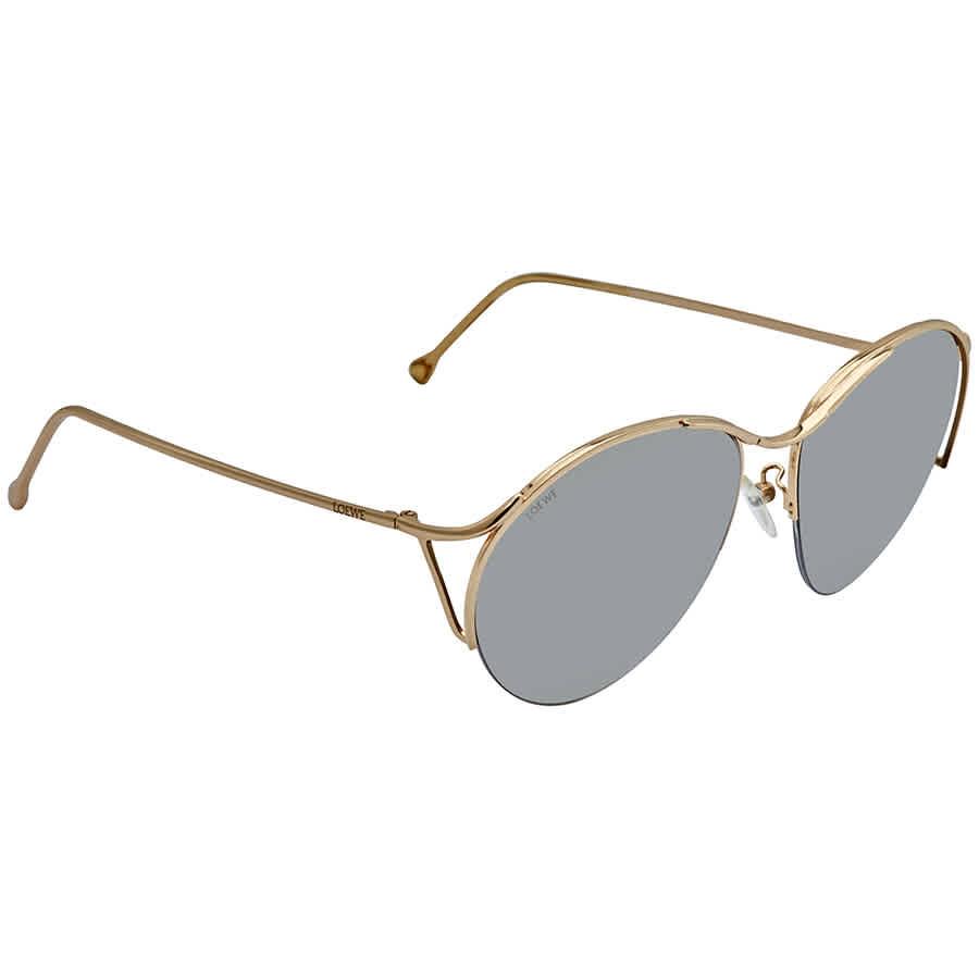 Loewe Grey Mirror Silver Round Ladies Sunglasses Slw496m-300x In Gold