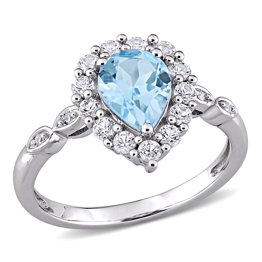 Amour 10k White Gold 0.02 Ct Tdw Diamond And 2 Ct Tgw Sky Blue Topaz And Created White Sapphire Halo Ring In Metallic