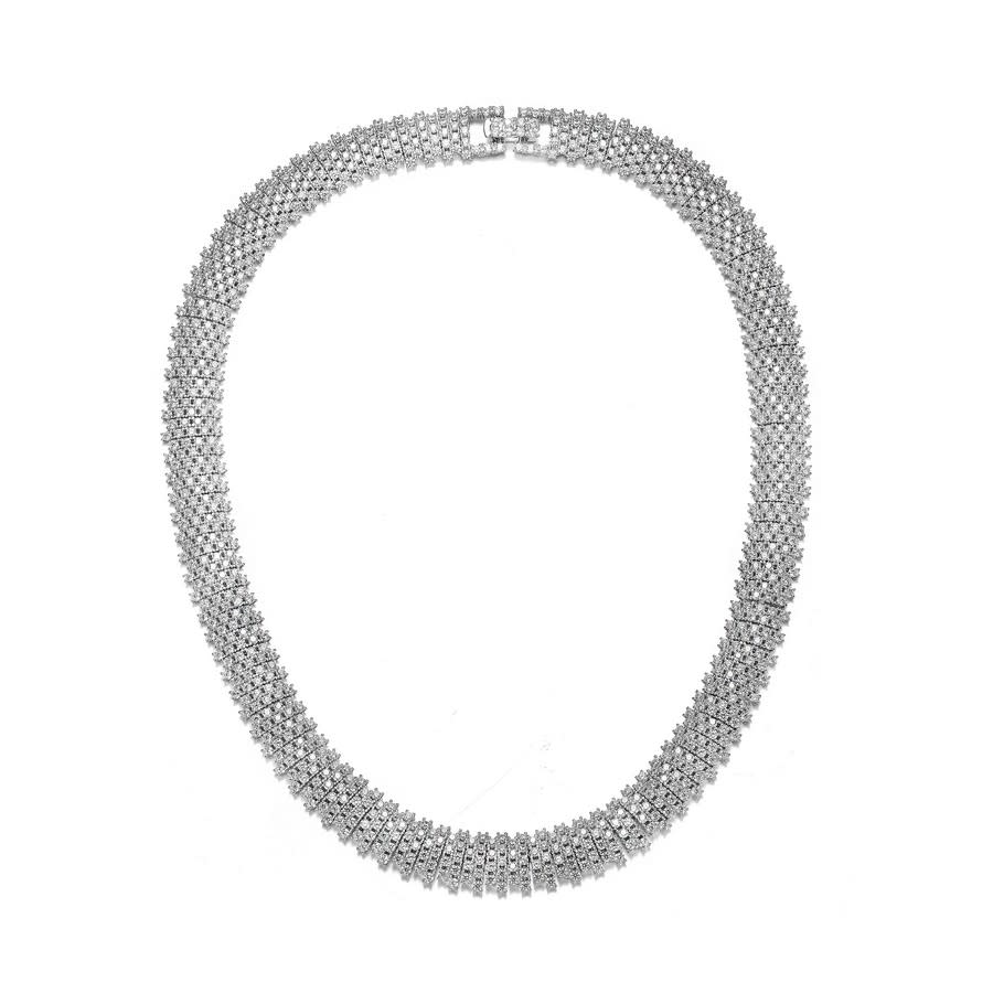 Megan Walford Sterling Silver Clear Round Cubic Zirconia Linear Pave Necklace In Silver Tone,white