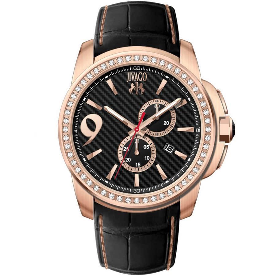 Jivago Gliese Black Dial Black Leather Mens Watch Jv1530 In Black,gold Tone,pink,rose Gold Tone