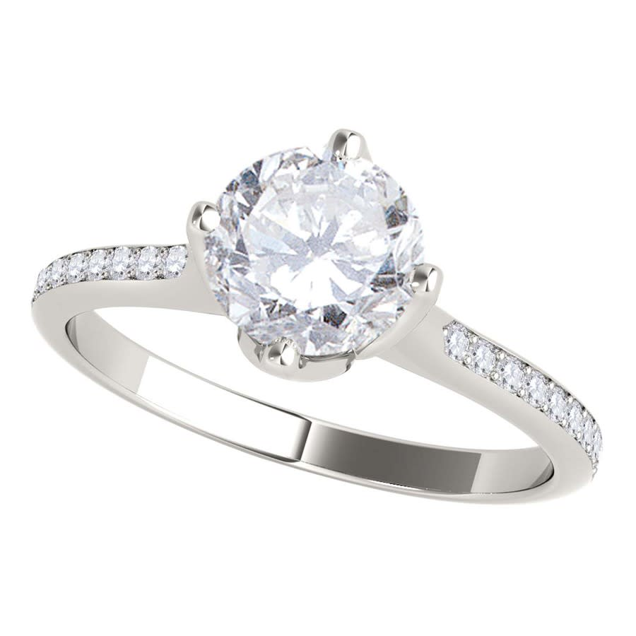 Maulijewels 1.15 Carat Natural Round White Diamond ( H-i/ I1-i2 ) Solitaire Engagement Ring In 14k Solid White G In Gold Tone,white
