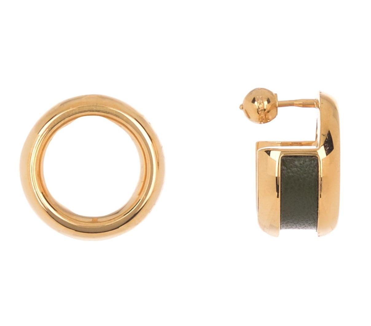 Burberry Leather & Bronze Grommet Hoop Earrings In Gold