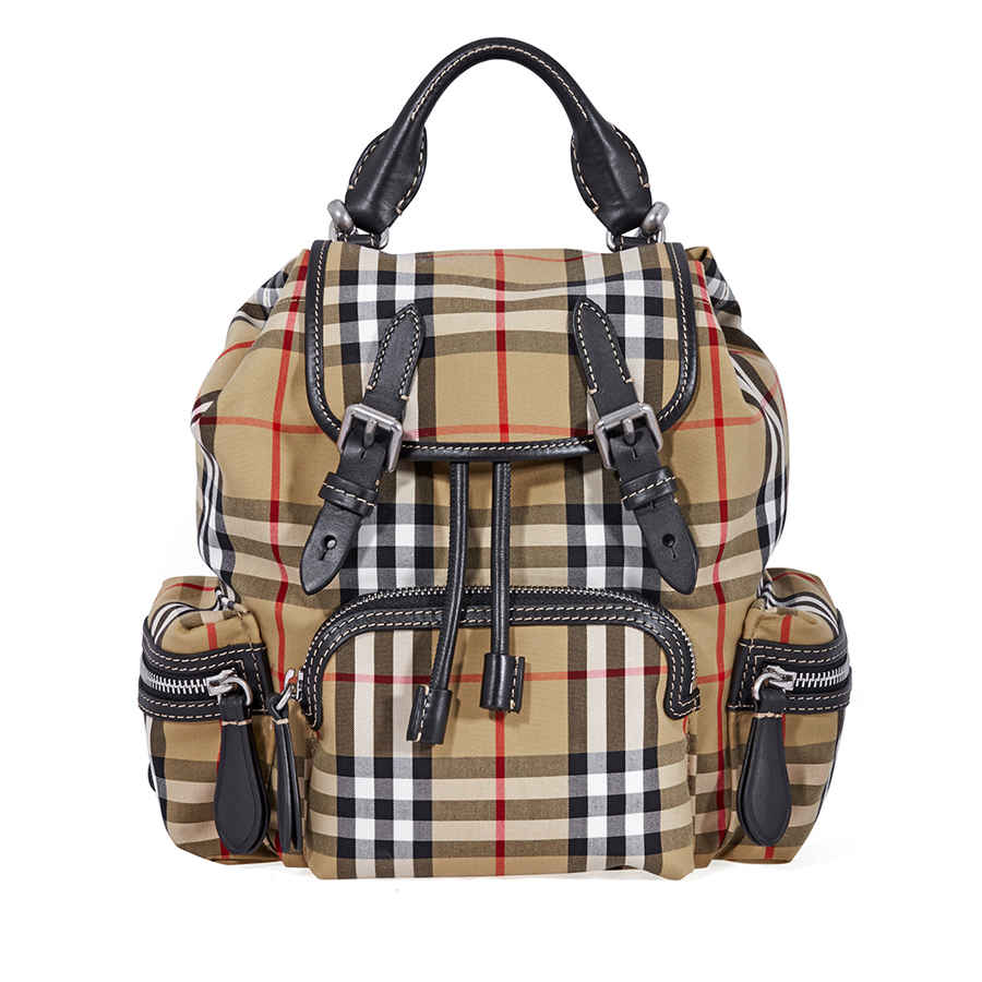 Burberry Small Vintage Check And Leather Rucksack- Antique Yellow