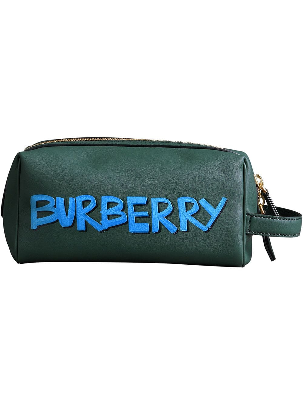 Burberry Mens Graffiti Print Leather Pouch In Green