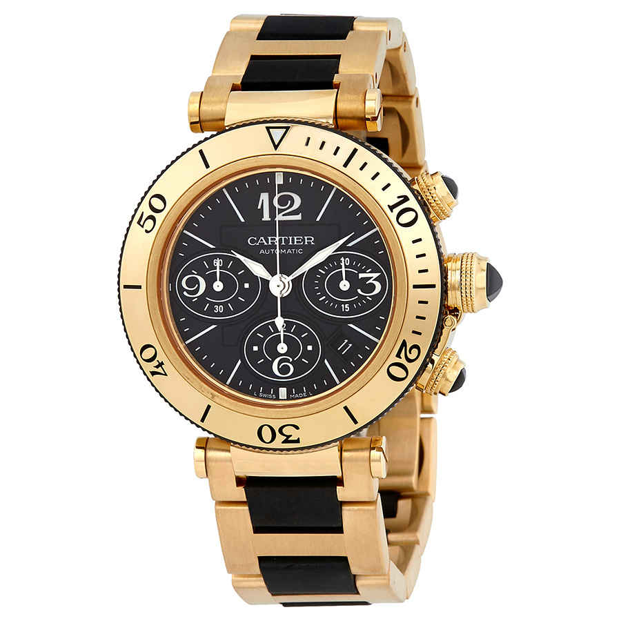 Cartier Pasha Seatimer Black Chronograph Dial Automatic Mens Watch W301970m In Black,gold Tone,yellow