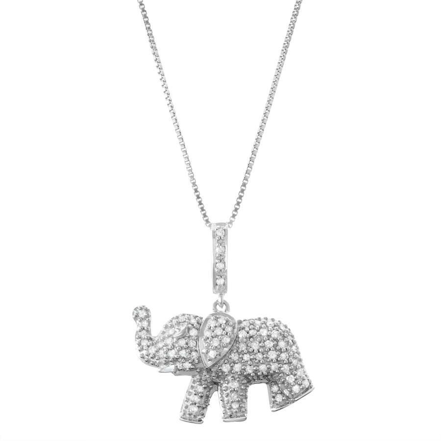 Hetal Diamonds 0.34cttw Diamond Elephant Pendant In Sterling Silver In Silver Tone,white