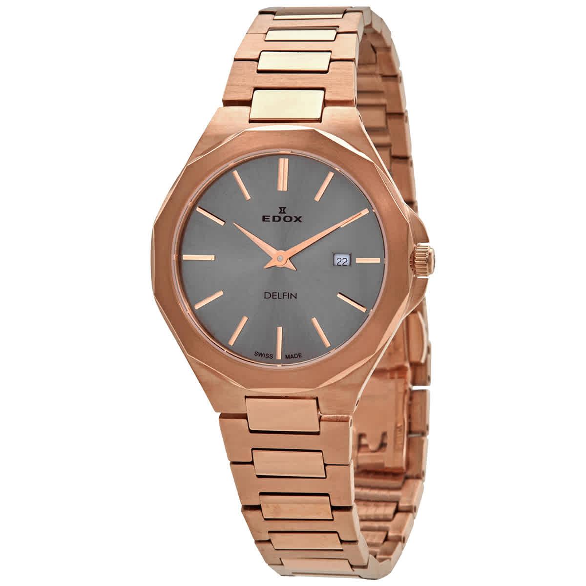 Edox Delfin Quartz Grey Dial Ladies Watch 57005 37rm Gir In Gold