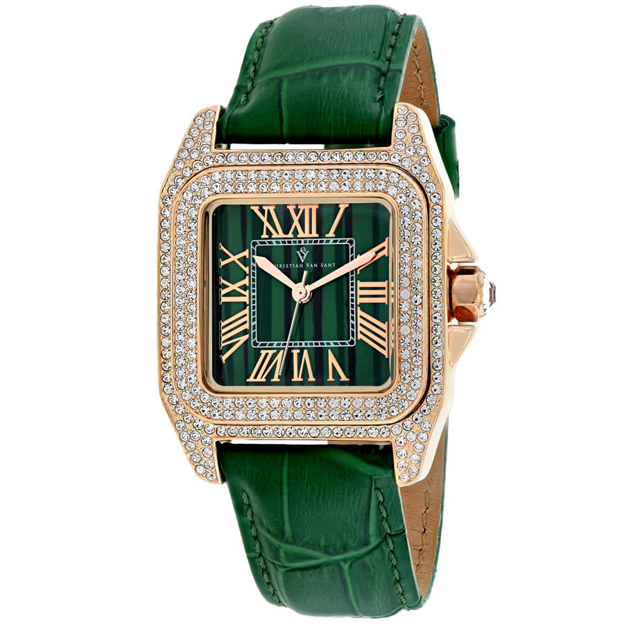 Christian Van Sant Radieuse Quartz Green Dial Ladies Watch Cv4424 In Gold Tone,green,pink,rose Gold Tone,yellow