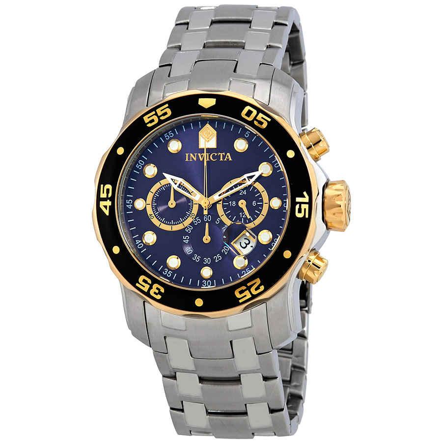 Invicta Pro Diver Chronograph Blue Dial Mens Watch 80041 In Black,blue,gold Tone,silver Tone,yellow