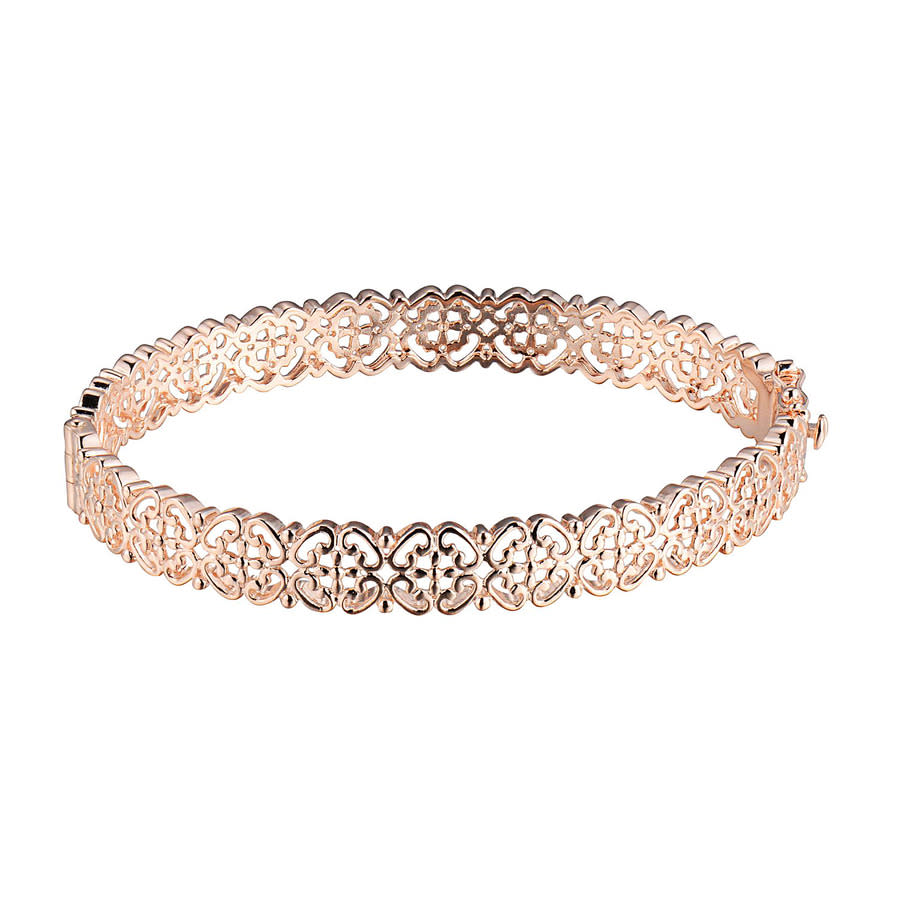 Envie 14k Rose Gold Plated Sterling Silver Open Work Hinged Bangle Bracelet In Metallic