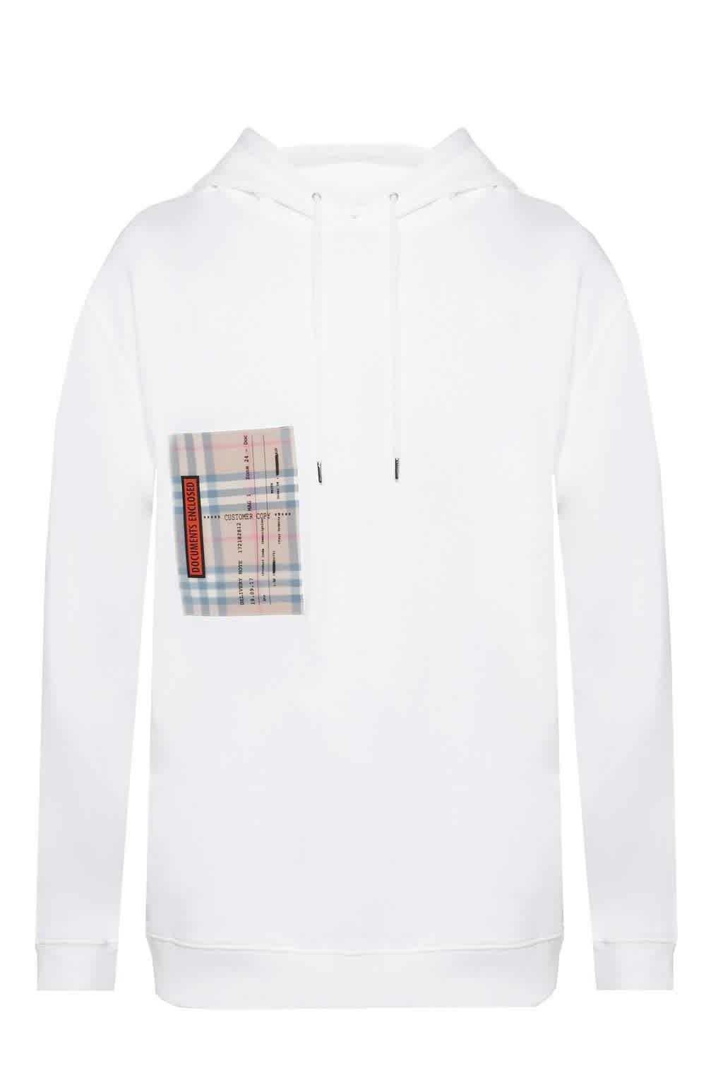 Burberry Mens White Checker Hooded Sweatshirt