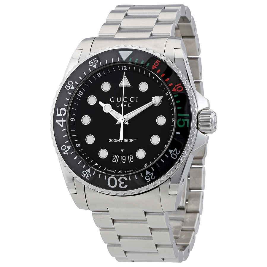 GUCCI DIVE XL BLACK DIAL STAINLESS STEEL MENS WATCH YA136208