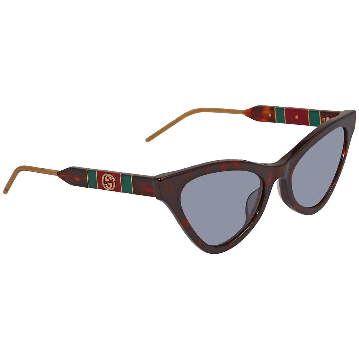 Gucci Blue Cat-eye Ladies Sunglasses Gg0597s-002 55