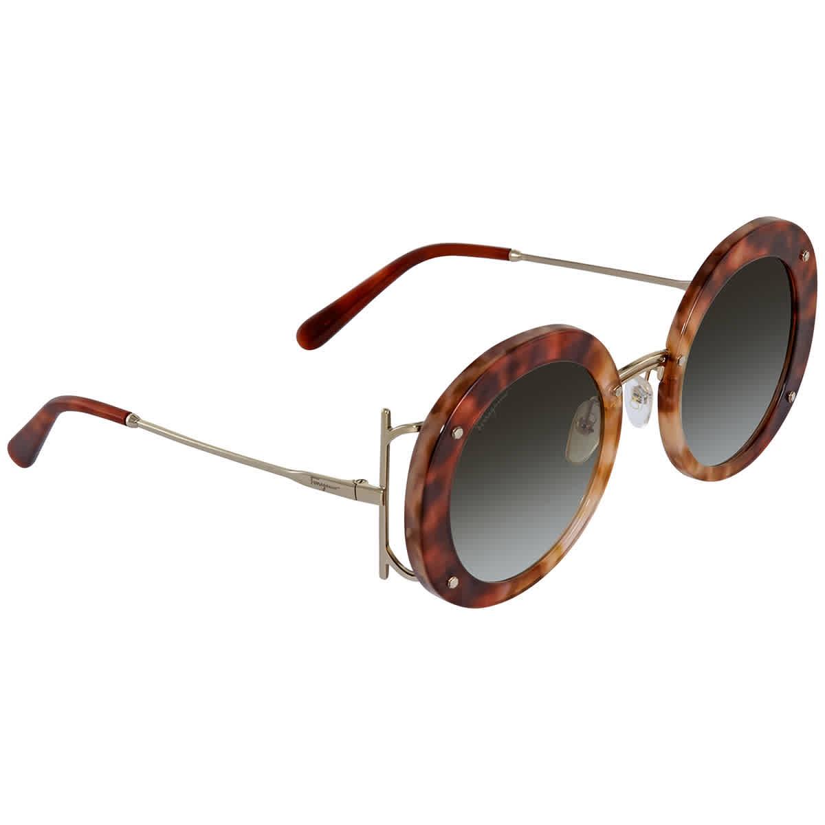 Salvatore Ferragamo Grey Gradient Round Ladies Sunglasses Sf939s 232 52 In Brown