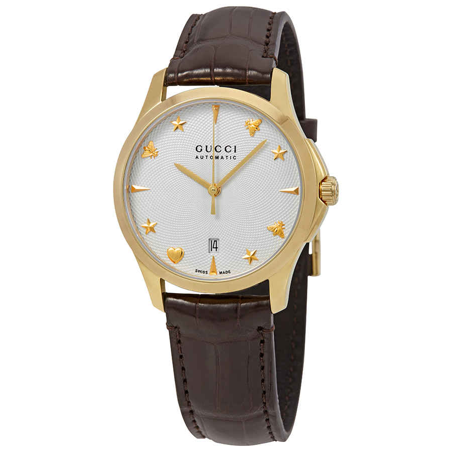 Gucci G-timeless Automatic Silver Dial Watch Ya126470 In Brown