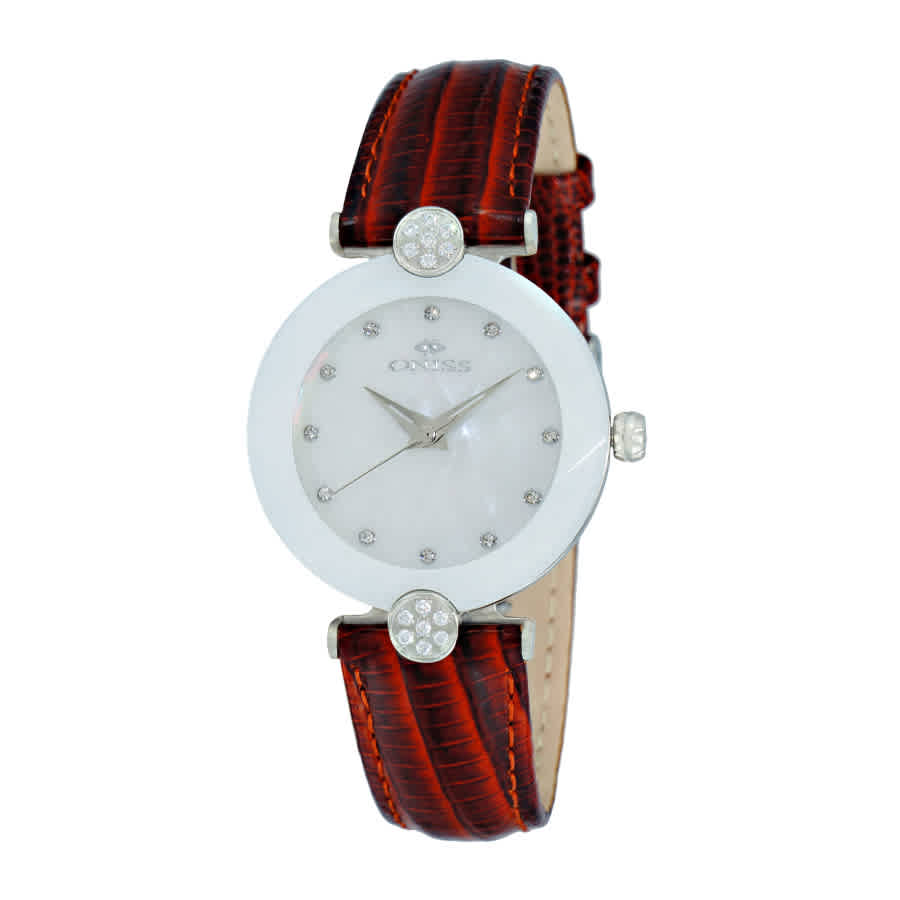 Oniss On8776mop White Dial Ladies Watch Onj8776-0lwt In Blue,brown,silver Tone,white