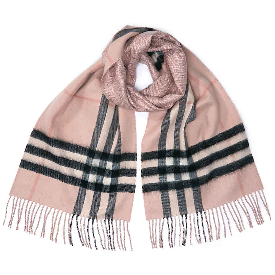 Burberry Reversible Metallic Check Cashmere Scarf In Ash Rose In Pink,silver Tone