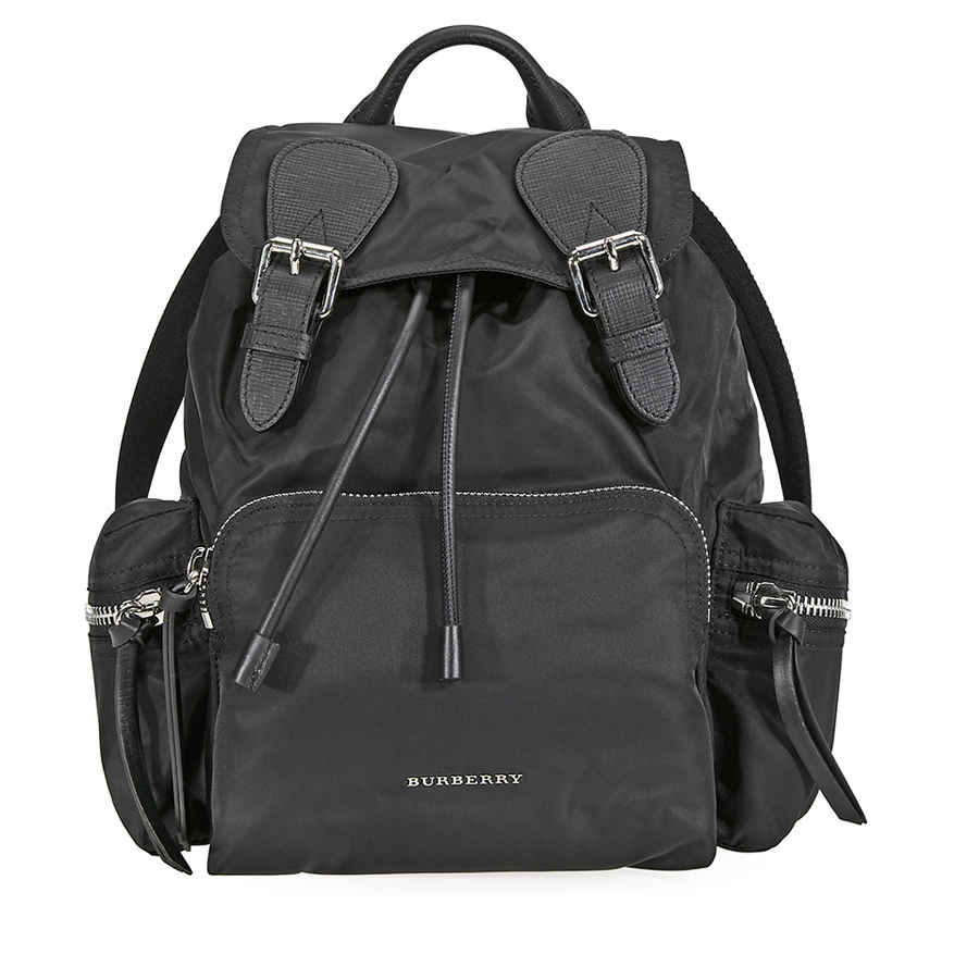 Burberry Medium Nylon And Leather Rucksack- Black