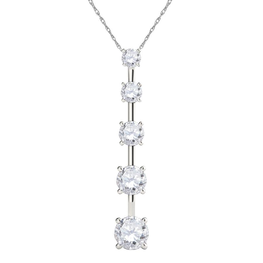 Maulijewels Ladies 14k White Gold 0.5 Ct Round Cut White Diamond Box Pendant Necklace With 18'' 14k White Gold P In Gold Tone,silver Tone,white