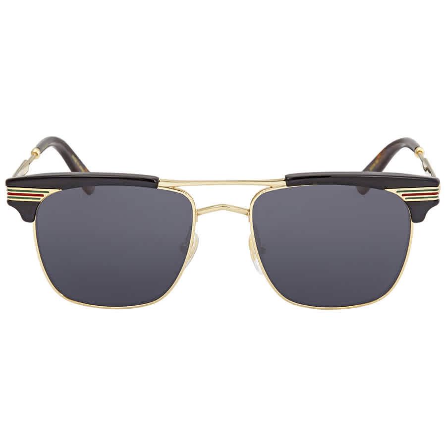 Gucci Grey Square Sunglasses Gg0287s-001 52 In Black,gold Tone,grey