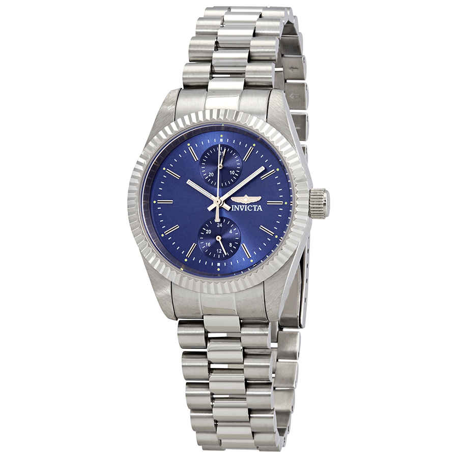 Invicta Specialty Blue Dial Stainless Steel Ladies Watch 29438 In Metallic