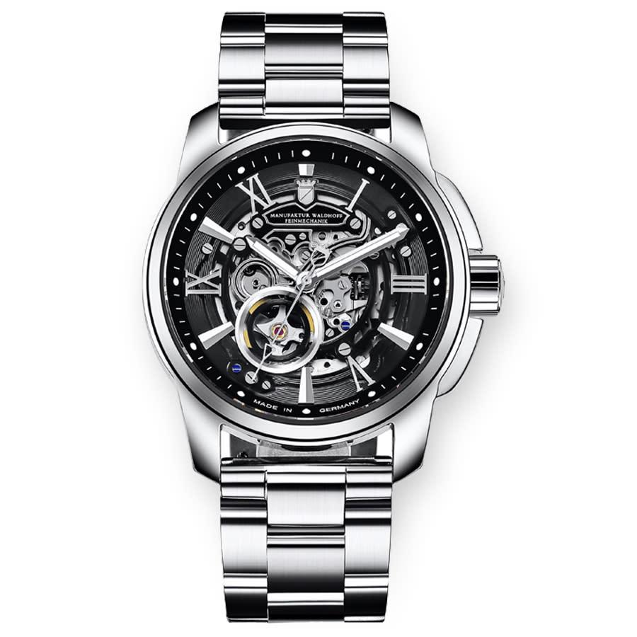 Waldhoff Republic Automatic Black Dial Mens Watch Mwf-04-ss-02-wbk-3l In Black,silver Tone