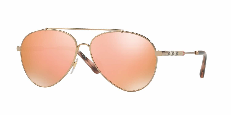 Burberry Rose Gold Aviator Ladies Sunglasses Be3092qf-12437j-60