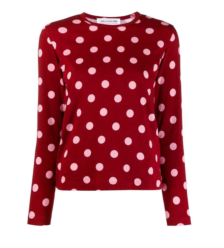 Cdg Girl Girl Long Sleeve Polka Dot T-shirt In Red