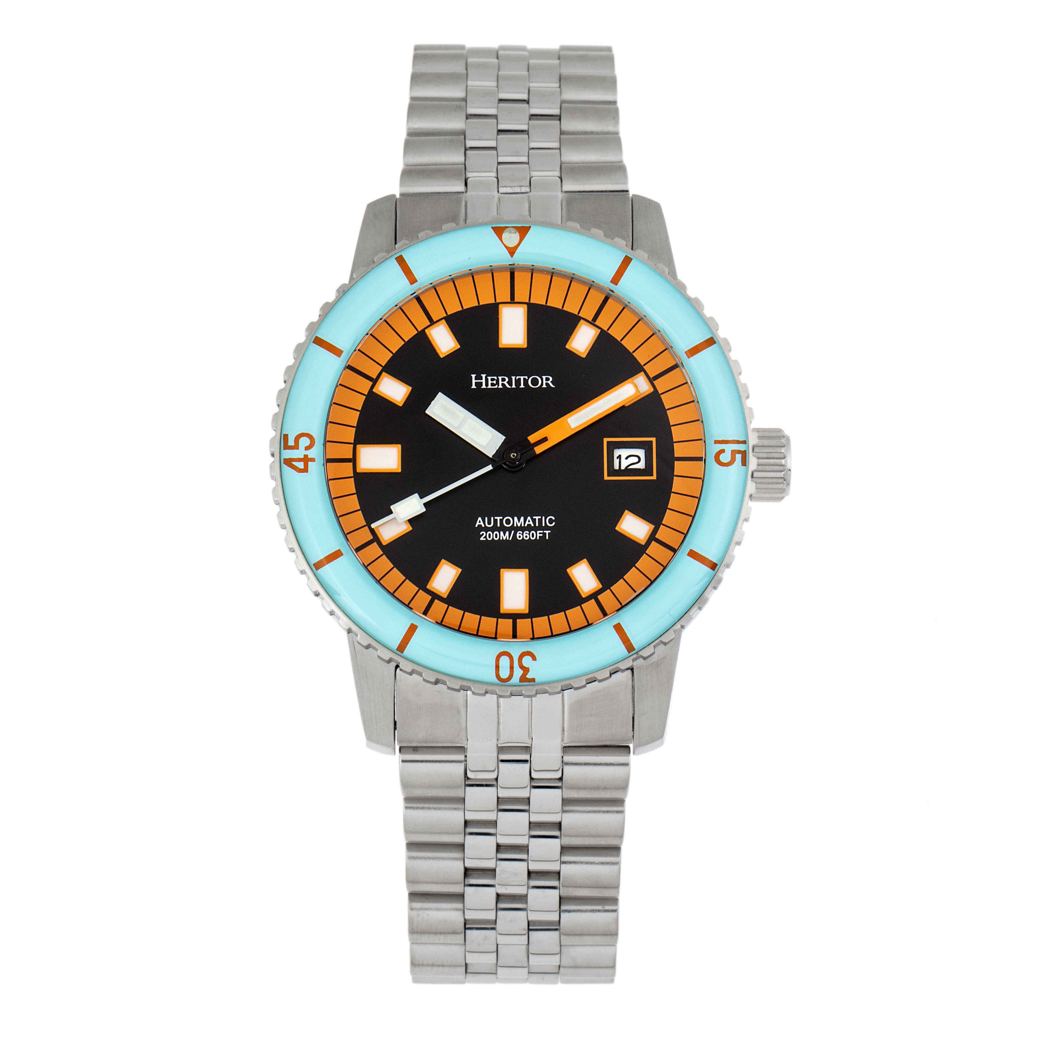 Heritor Edgard Automatic Black Dial Mens Watch Hr9102 In Black,blue,orange,silver Tone