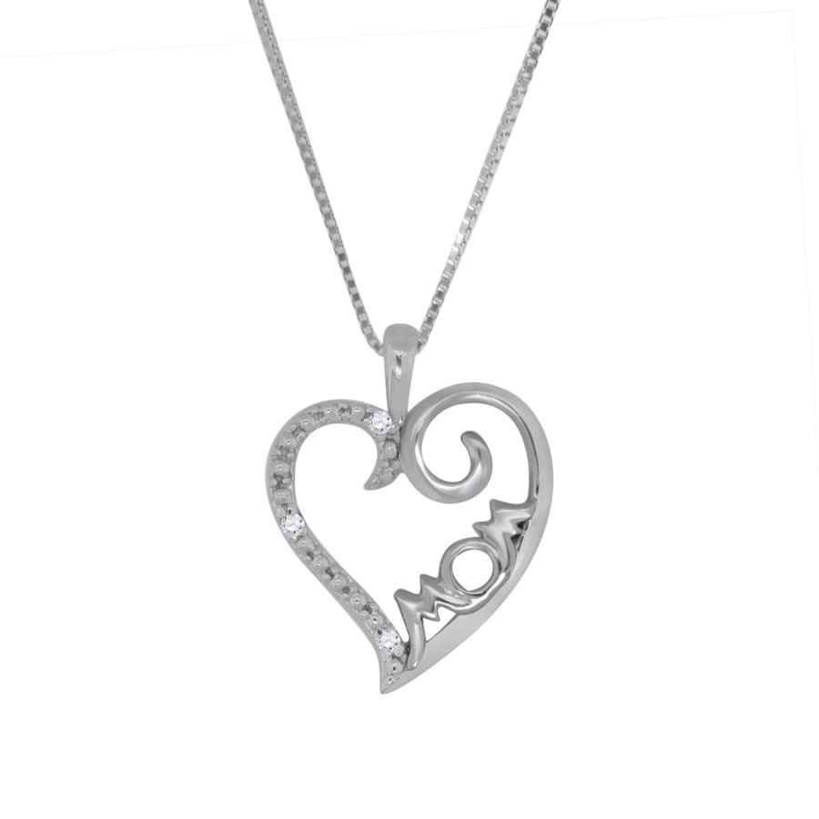 Maulijewels 0.025 Carat Natural Diamond Mom Heart Pendant For Woman Crafted In 10k White Gold With 18'' Sterling In Gold Tone,silver Tone,white