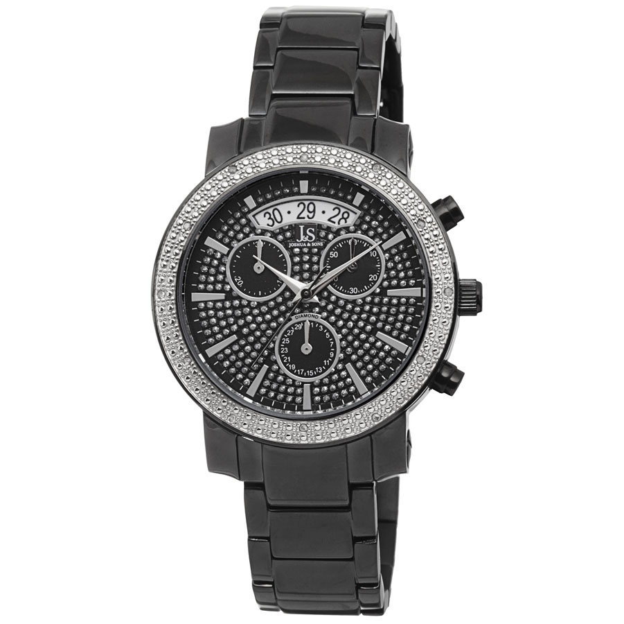 Joshua And Sons Joshua & Sons Chronograph Black Dial Black Ion-plated Ladies Watch Js57bk In Gray