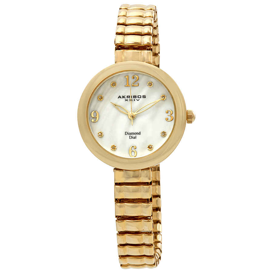 Akribos Xxiv Mother Of Pearl Dial Yellow Gold-tone Ladies Watch Ak765yg In Gold Tone,mother Of Pearl,yellow