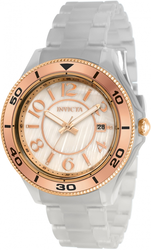 Invicta Anatomic Quartz White Mother Of Pearl Dial Ladies Watch 30362 In Gold