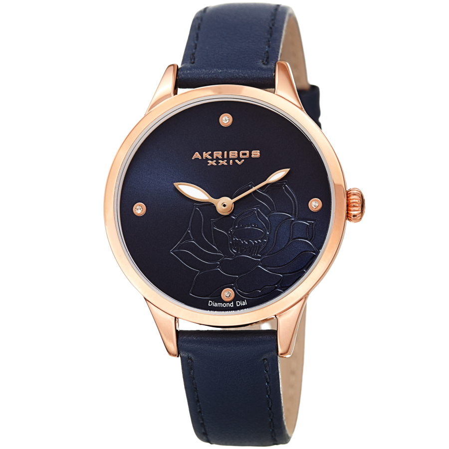 Akribos Xxiv Quartz Diamond Blue Dial Ladies Watch Ak1047bu