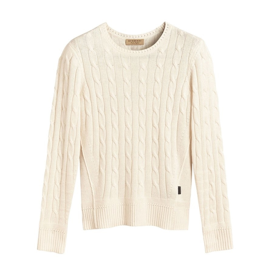 Burberry Long Sleeve Cable Knit Sweater In White