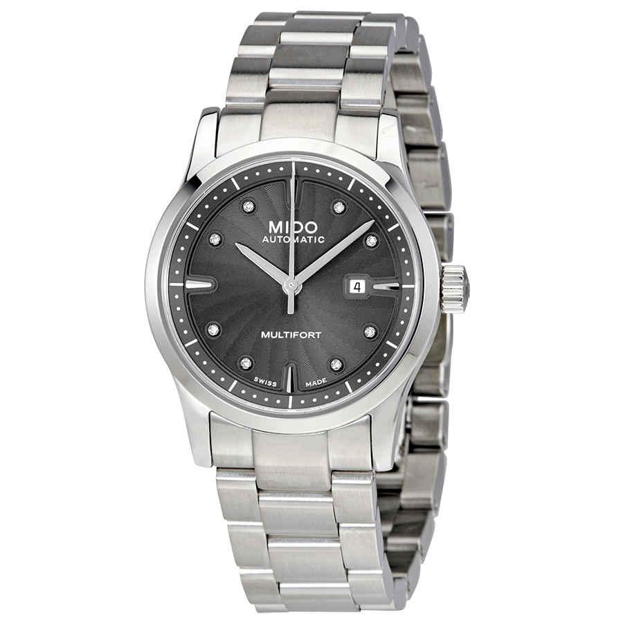 Mido Multifort Automatic Grey Diamond Dial Ladies Watch M005.007.11.066.00 In Metallic