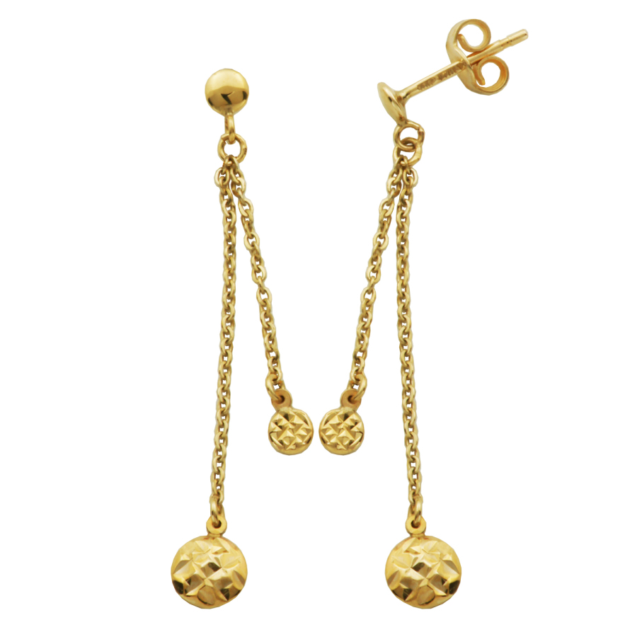 Treesse 10k Yellow Gold Hammered Texture Balls Drop Stud Earrings In Gold Tone,yellow