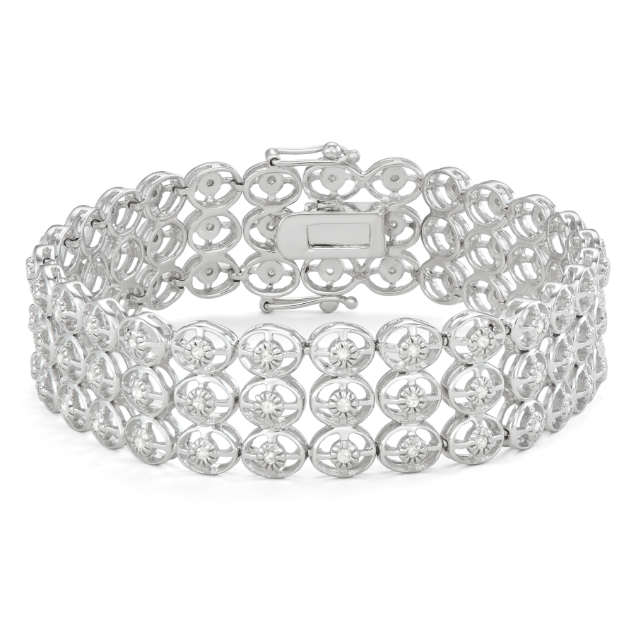 Hetal Diamonds Sterling Silver Three Row Diamond Bracelet (1 Cttw) In Metallic
