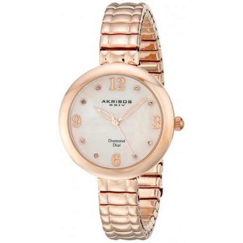 Akribos Xxiv Akribos Impeccable Mother Of Pearl Rose Gold-tone Ladies Watch Ak765rg In Gold Tone,mother Of Pearl,pink,rose Gold Tone