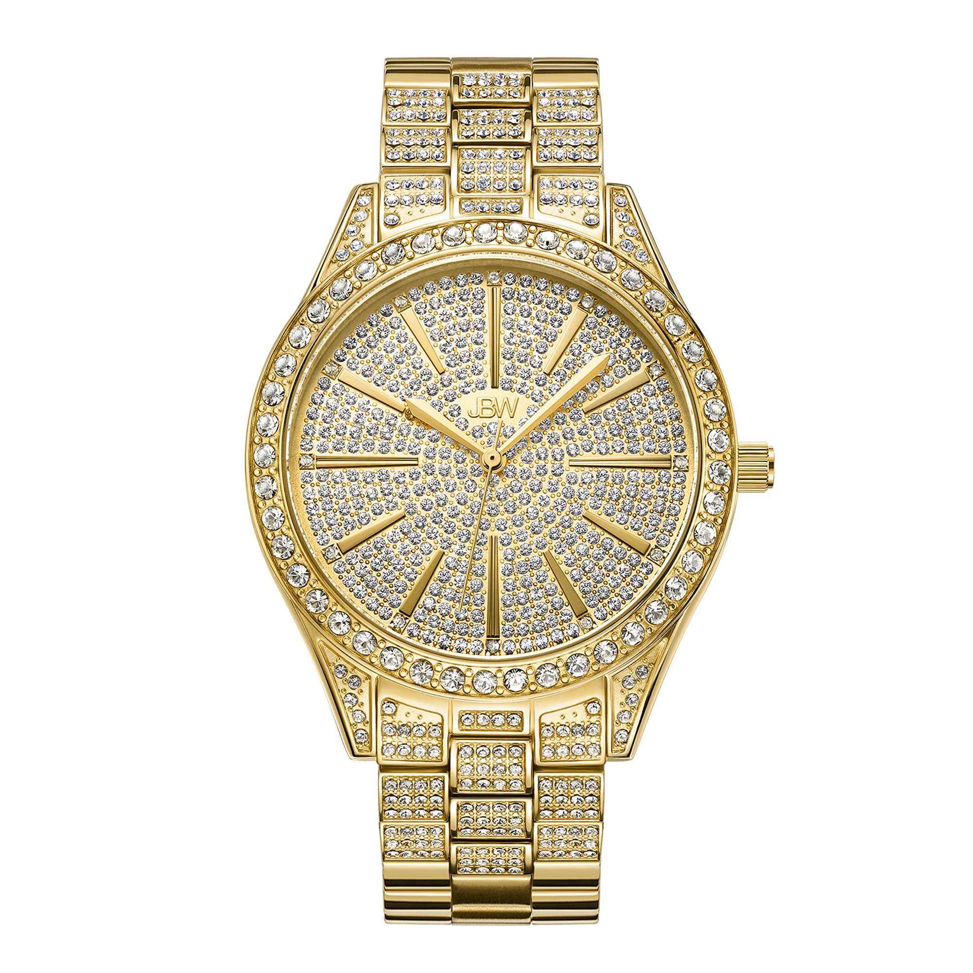 Jbw Cristal Quartz Crystal Gold Crystal Pave Dial Ladies Watch J6346a In Gold Tone