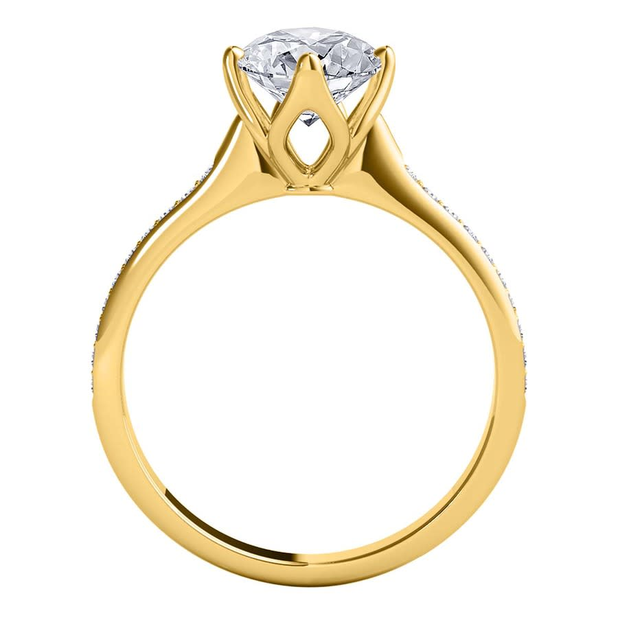Maulijewels 1.15 Carat Natural Round White Diamond ( H-i/ I1-i2 ) Solitaire Engagement Ring In 14k Solid Yellow  In Gold Tone,white,yellow