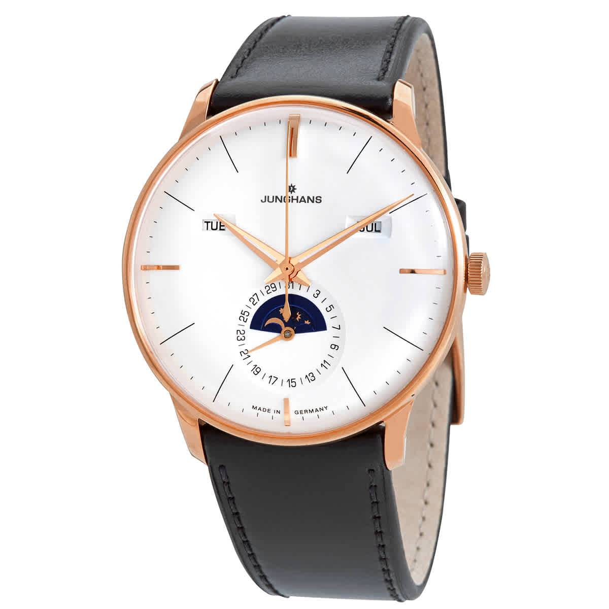 Junghans Meister Kalender Automatic Silver Dial Mens Watch 027/7003.01 In Black