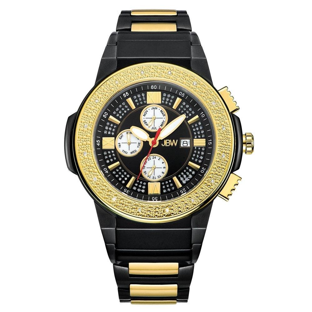 Jbw Saxon Black Dial Black And Gold Ip Steel Diamond Mens Watch Jb-6101-k