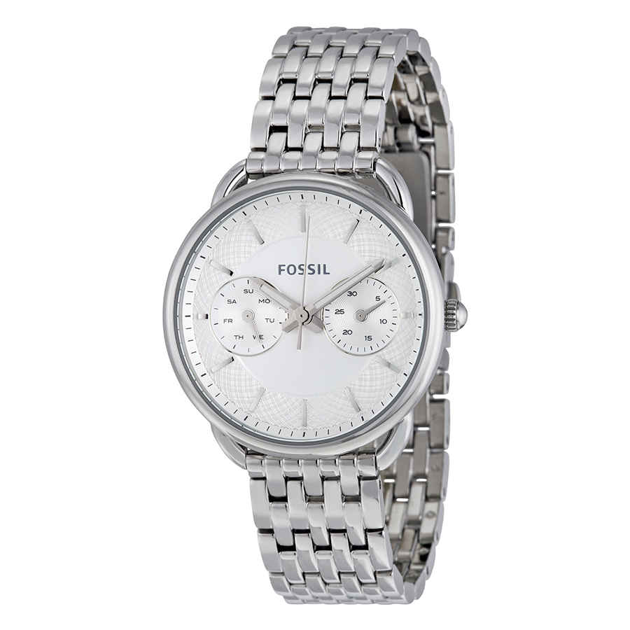 Fossil Tailor Multi-function White Dial Ladies Watch Es3712 In Silver Tone,white